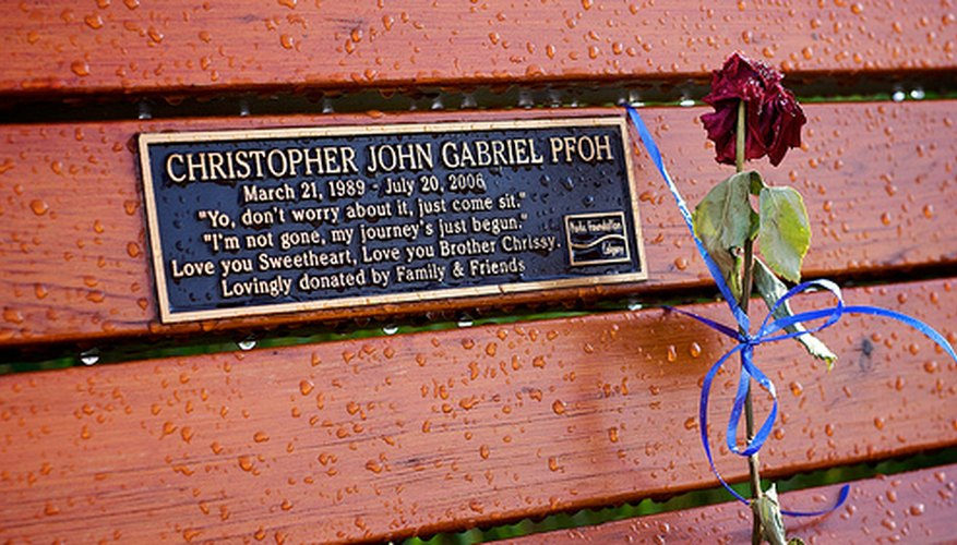 Memorial bench plaque