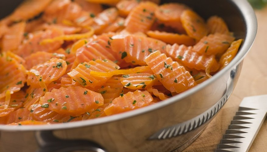 Slice or crinkle-cut carrots to speed up cooking time.