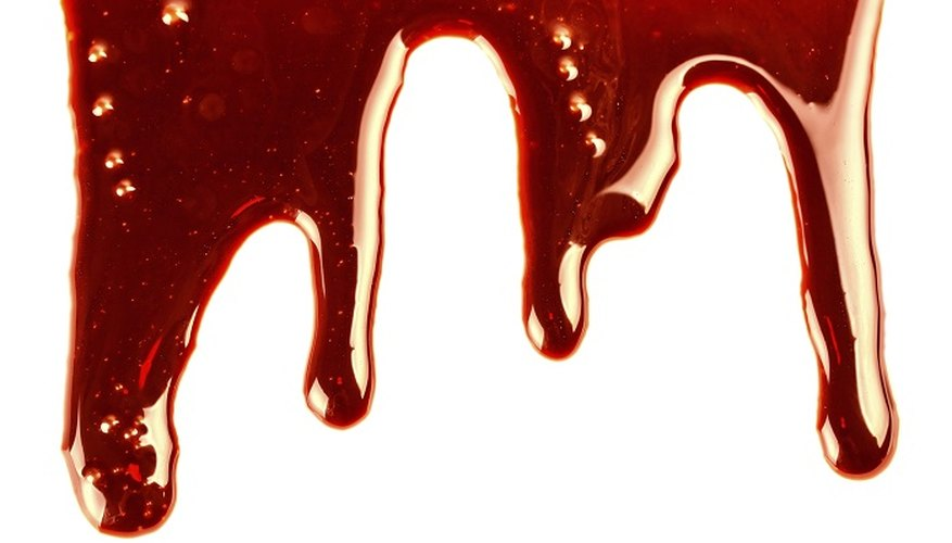 Tomato ketchup combined with other ingredients makes realistic-looking blood.