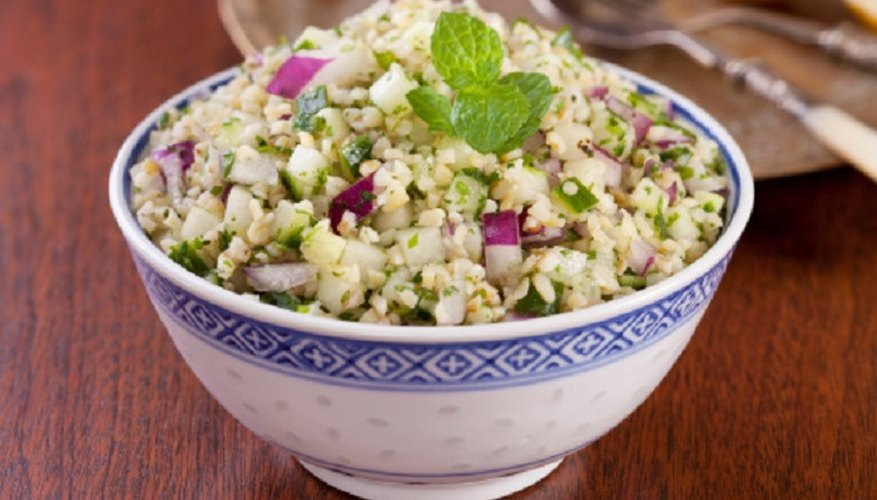 Tabbouleh is a popular bulgar wheat-based dish you can cook in the microwave.