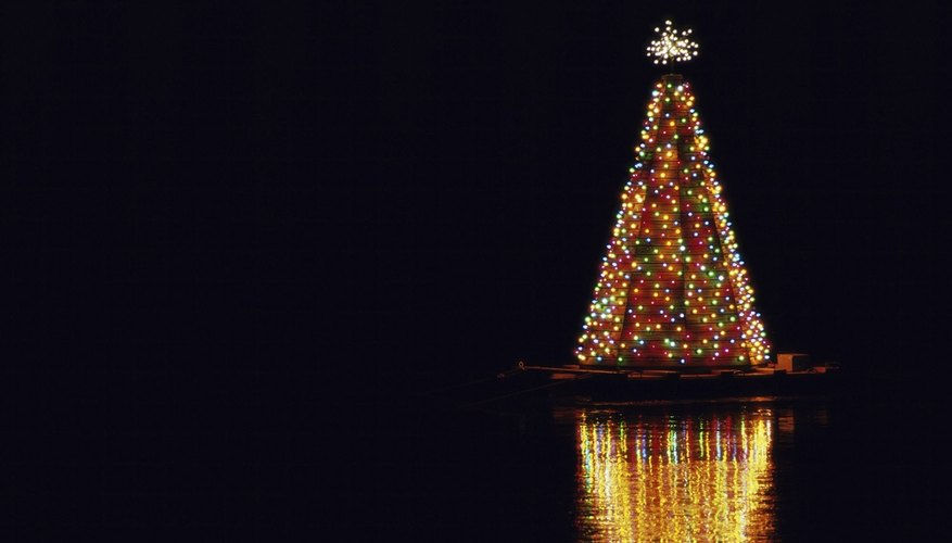 Cone Christmas trees look great at night.