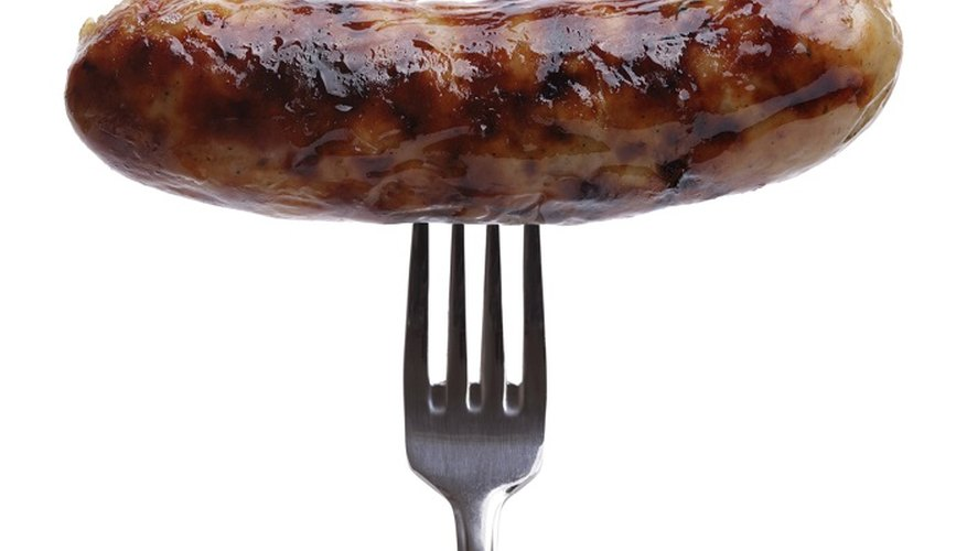 Inspect sausages that you've had for a while before cooking them.