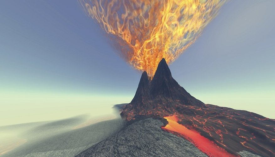 Homemade erupting volcanoes are a favourite for school science projects.