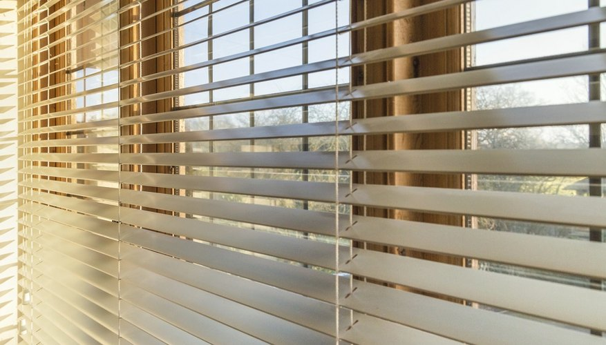An example of a Venetian blind with the slats angled up.