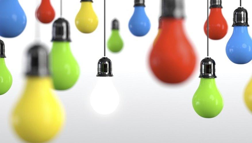 Coloured light bulbs can give your room a festive look.