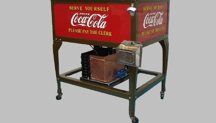 No coin operation yet on this Coke machine as the buyer had to give his nickel to the clerk