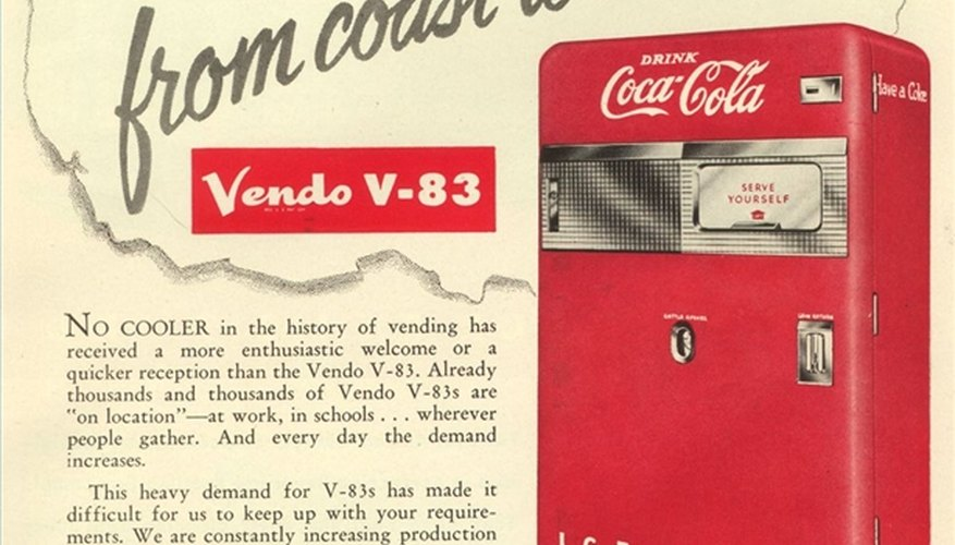 An advertisement for a pre-1956 Vendo 83 Coke machine