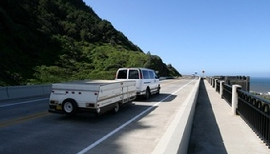 Truck towing travel trailer