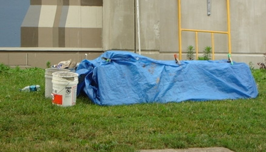 Protect flooring with a heavy drop cloth, blanket or tarp.