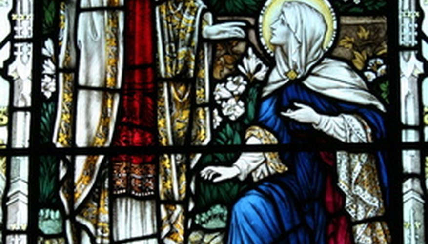 Some windows tell biblical stories.