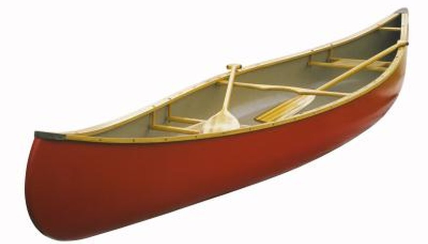 A canoe is measured from both bow to stern and at the beam to calculate capacity.