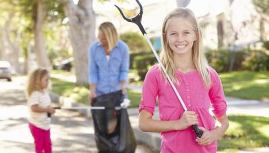 Being of service, cleaning up the street.