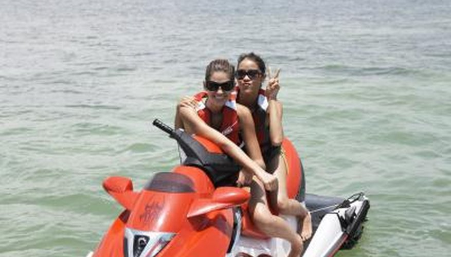 girl friends on jet ski in Tampa Bay