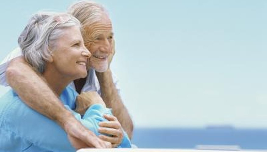 A smiling mature couple outdoors.