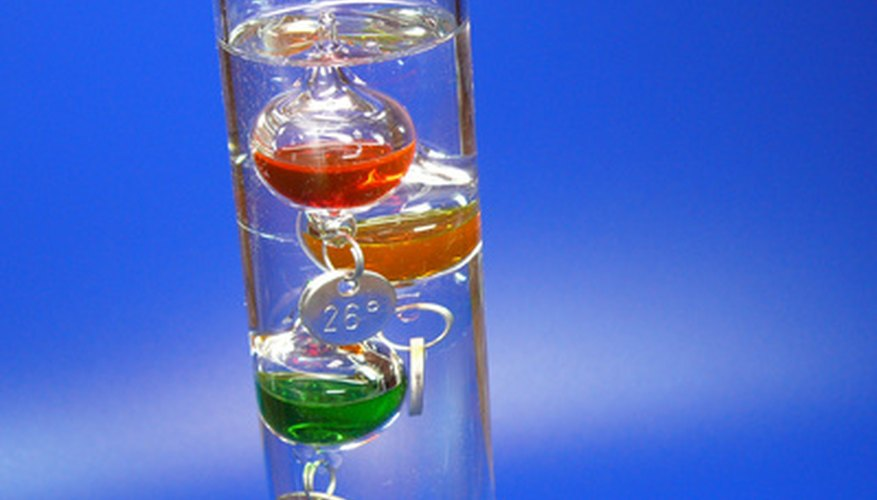 The Galileo thermometer relies on the density of water to tell the temperature.