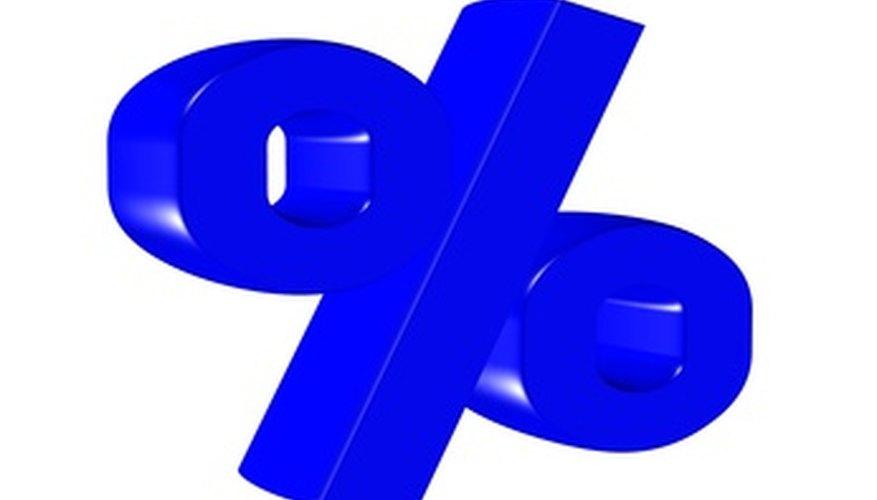 A per cent measurement sign denotes a