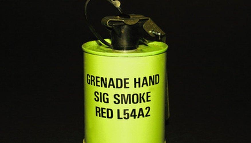 A standard red smoke grenade.