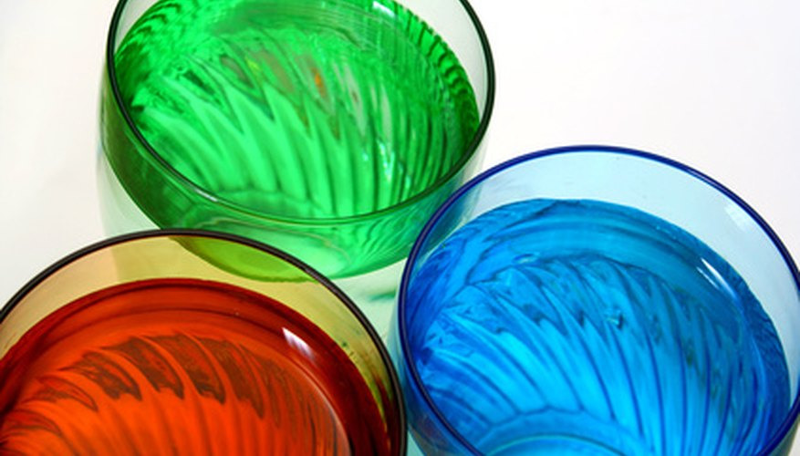 Beatifully coloured liquid in glass bottles can add colour and vibrancy to any decor.