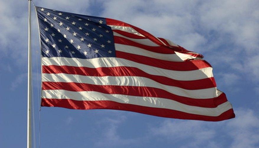 The American flag flies high