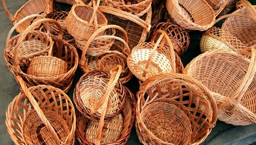 Line baskets with cloth liners to protect and decorate them.