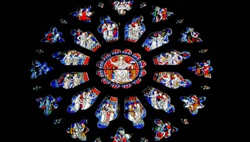 Rose windows often depict Biblical stories in their glasswork.