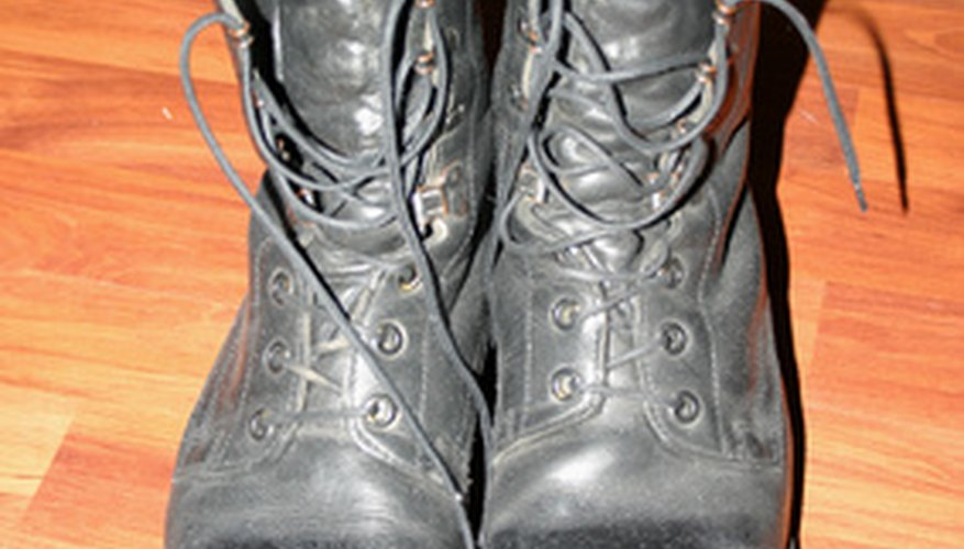 Well-worn combat boots