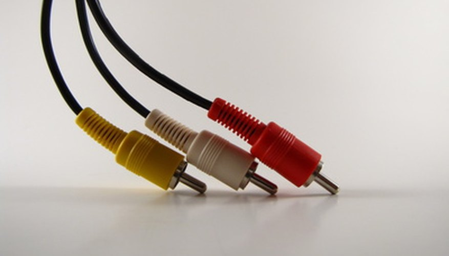One end of a standard composite AV cable for connecting a DVD player.