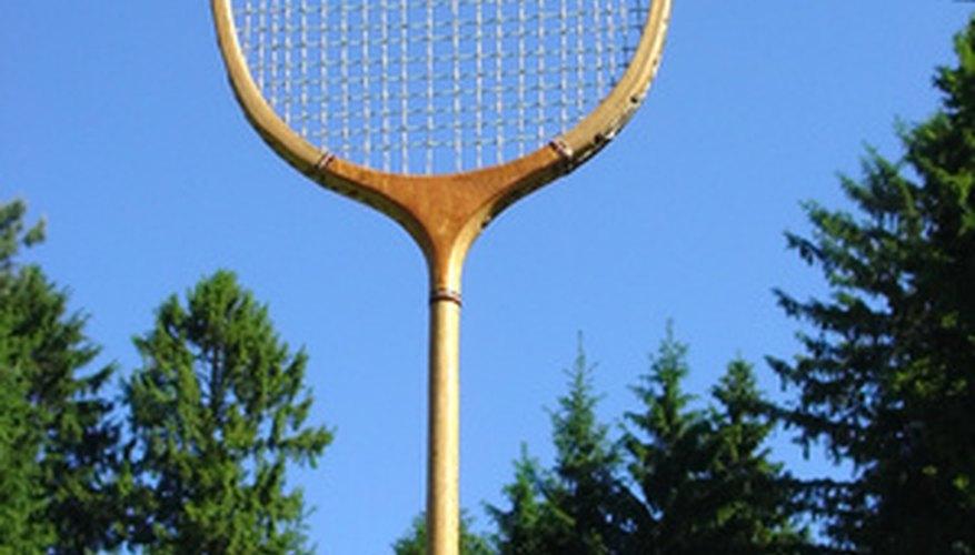Traditional wooden-framed badminton racket