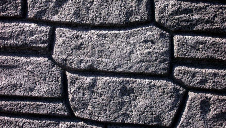 Make an imitation stone block wall with foam.