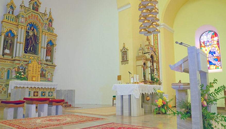 The church pulpit adds to the decor of the building.