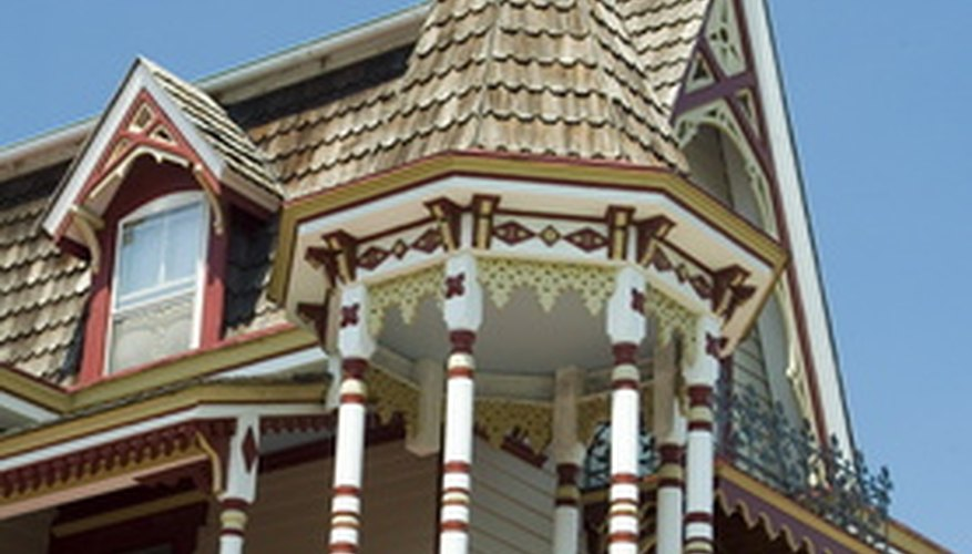 Add architectural details to a Victorian dollhouse with paint and paper doilies.