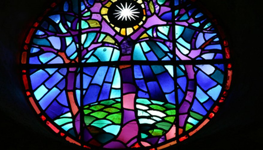 Stained glass plays with light.