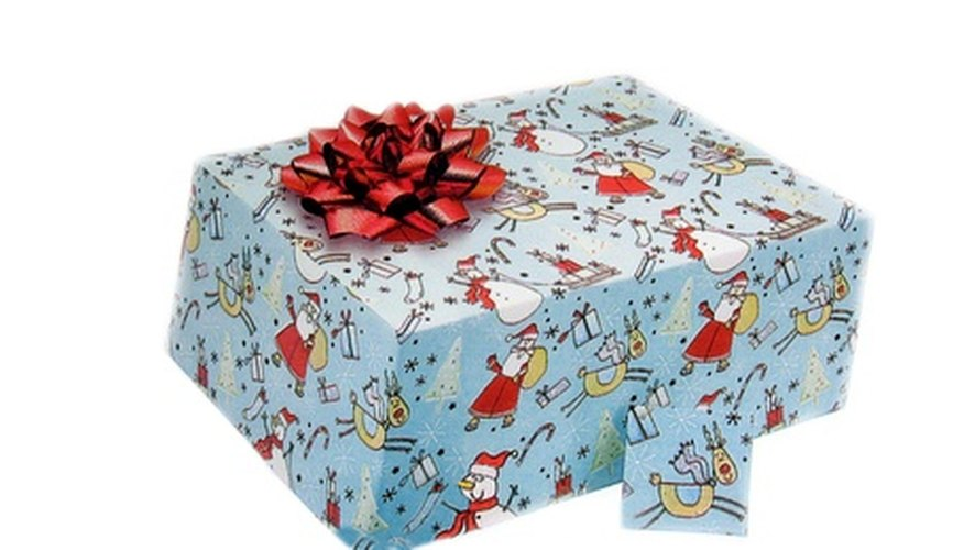 Wrap a shoebox and lid neatly to present a gift.