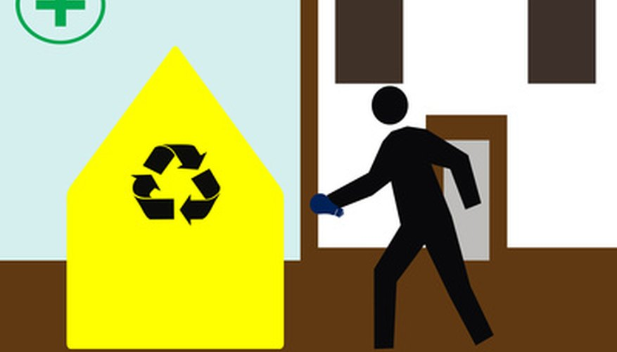 Verify recycling guidelines before placing materials in a receptacle.