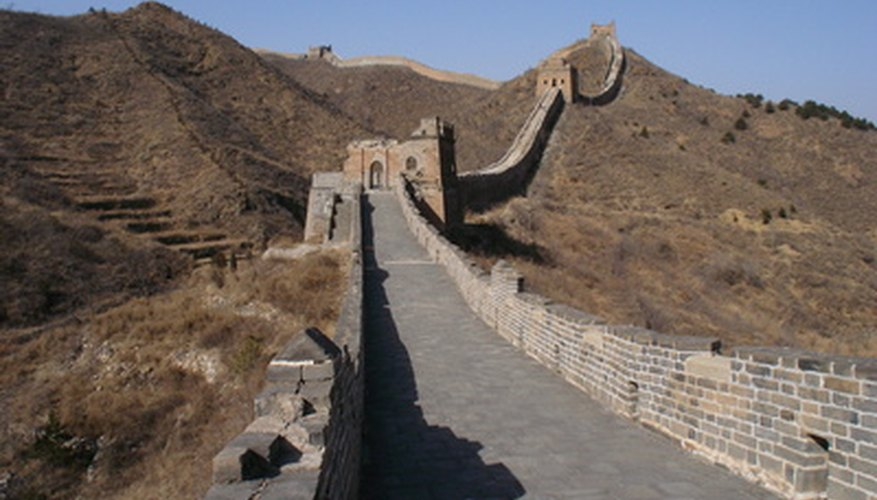 Construct a model of the Great Wall of China for school.