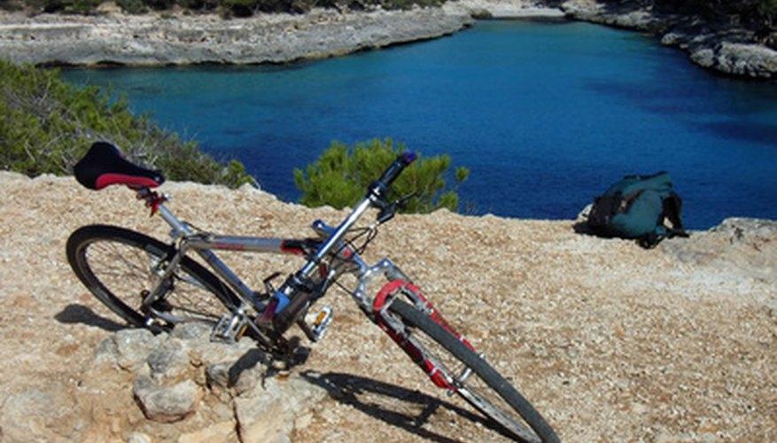 Mountain bike suspension forks absorb shock when travelling through rough terrain.