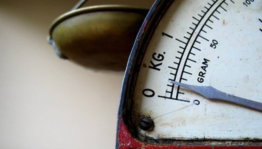 A scale shows the amount of force that an object on the scale exerts, or its weight.
