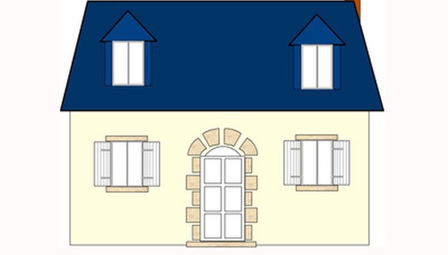 A house drawn in an orthographic view.