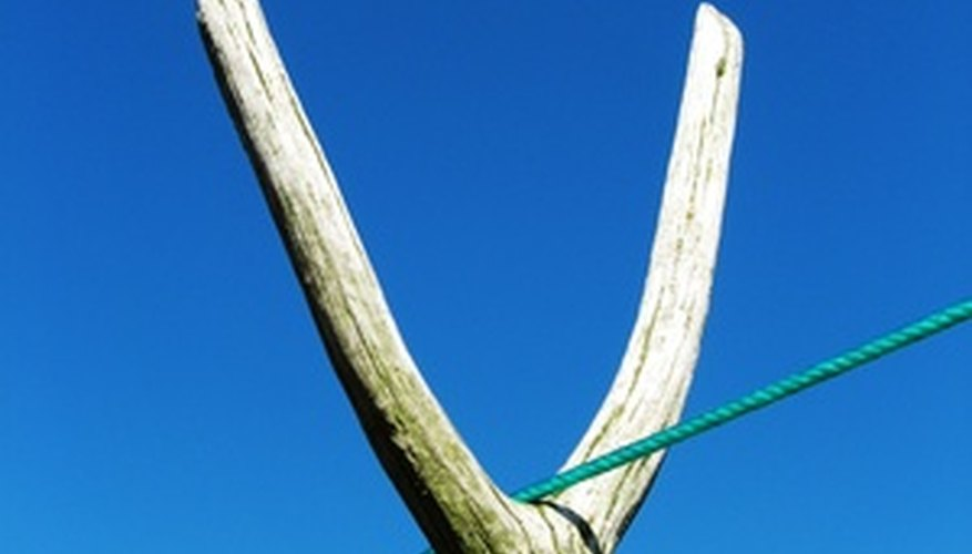 Clothesline props made from long, straight branches have a natural look.