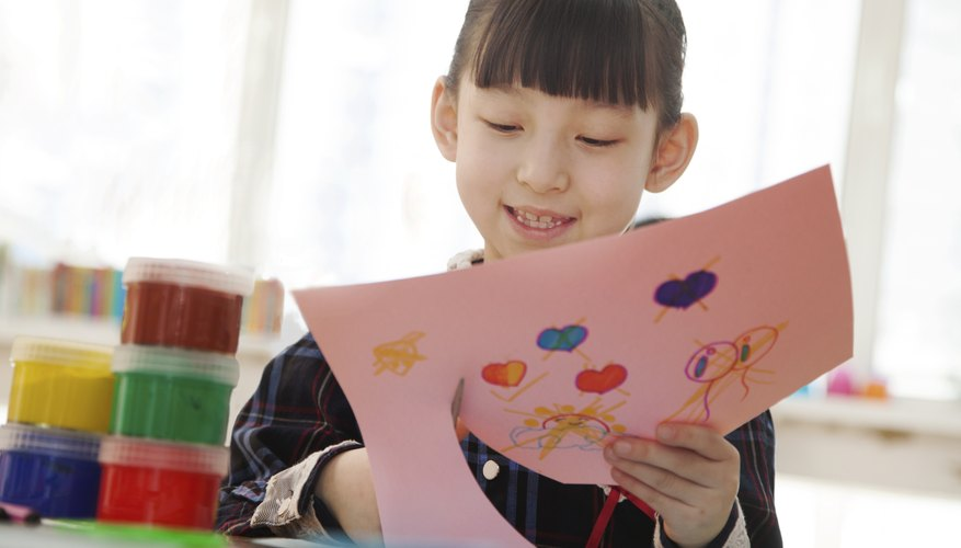 Young student working on crafts.