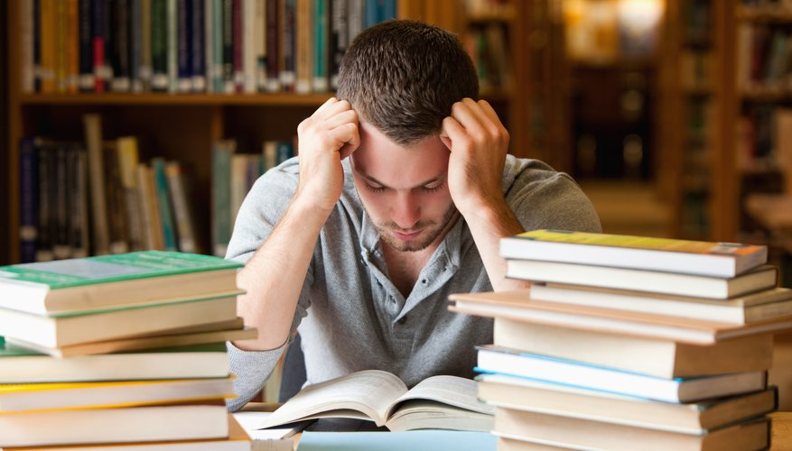 Student looking tired while studying
