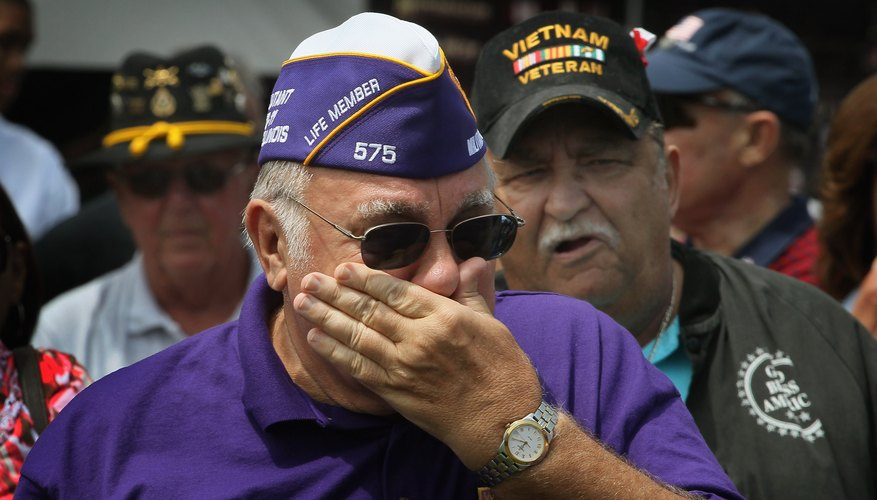 This picture shows a Vietnam veteran participating in a welcome home parade.