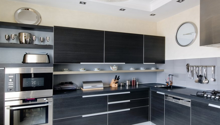 An integrated microwave makes for a modern kitchen.