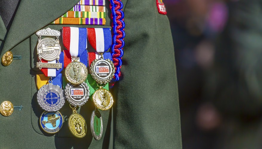 Close-up of medals on uniform