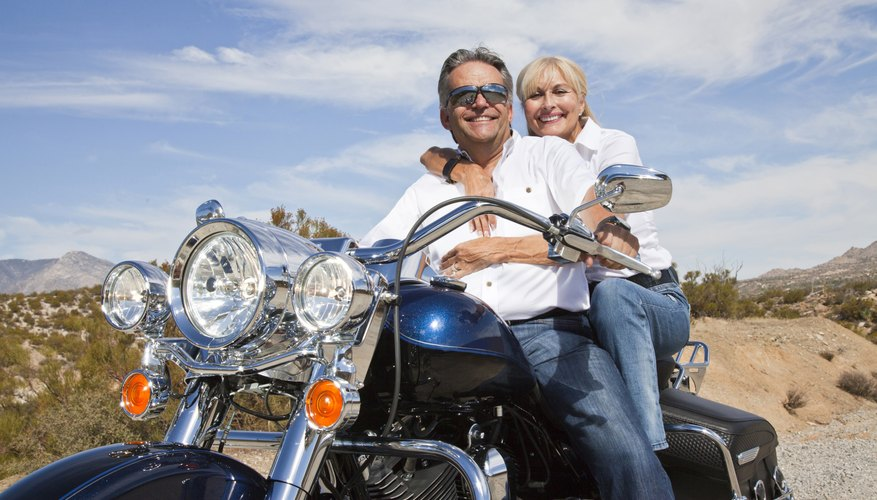Senior couple on motorcycle road trip