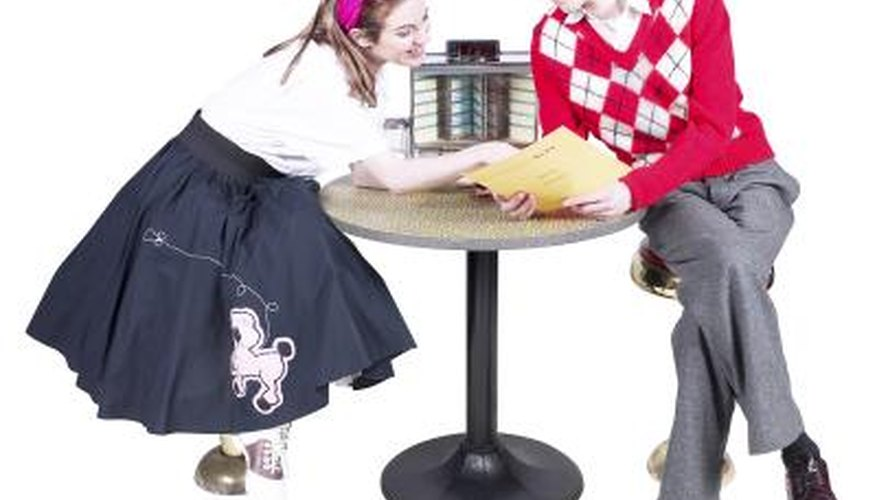 The full sweep of a 50s style skirt is created by starched crinolines worn underneath the skirt.