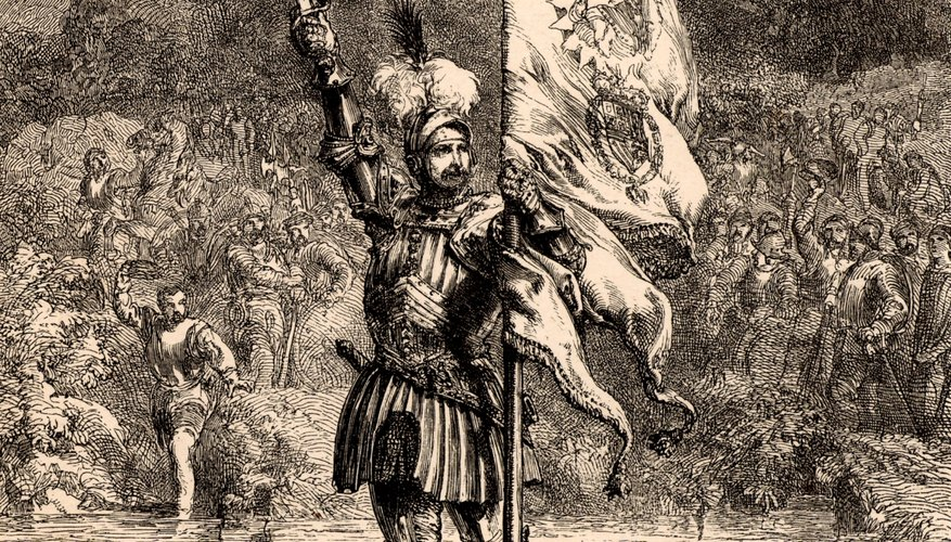 Vasco Núñez de Balboa claiming the Pacific Ocean for Spain.