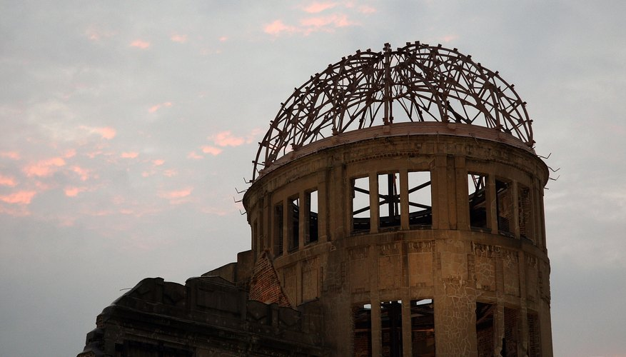The Hiroshima Peace Memorial marks the place where the first atomic bomb was dropped on Japan in 1945.