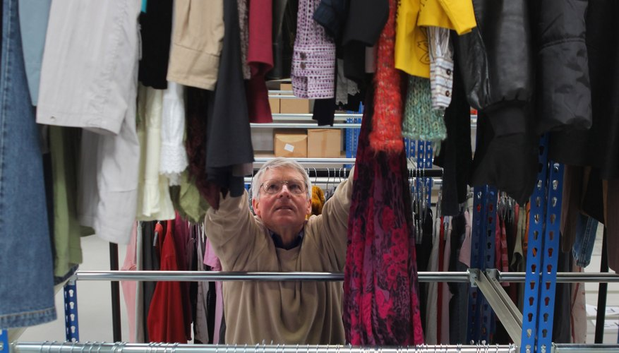 Charity shops contain a wide assortment of clothes.
