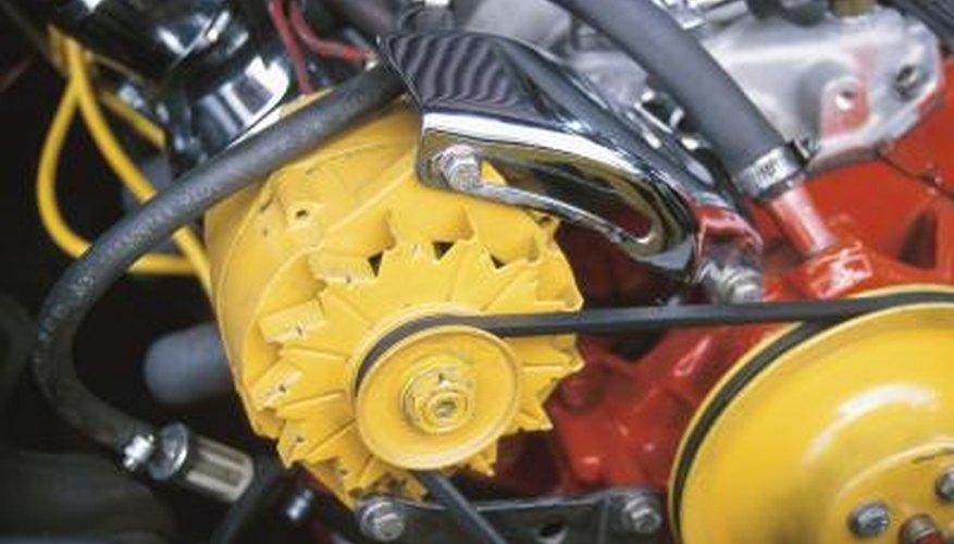 V-belts power engine components, such as alternators.